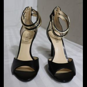 Guess Black&Gold Ankle Strap Heels Sz 6.5